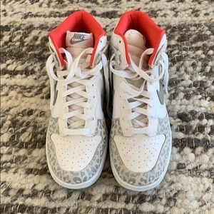Nike white leopard high top Dunks (size 7)